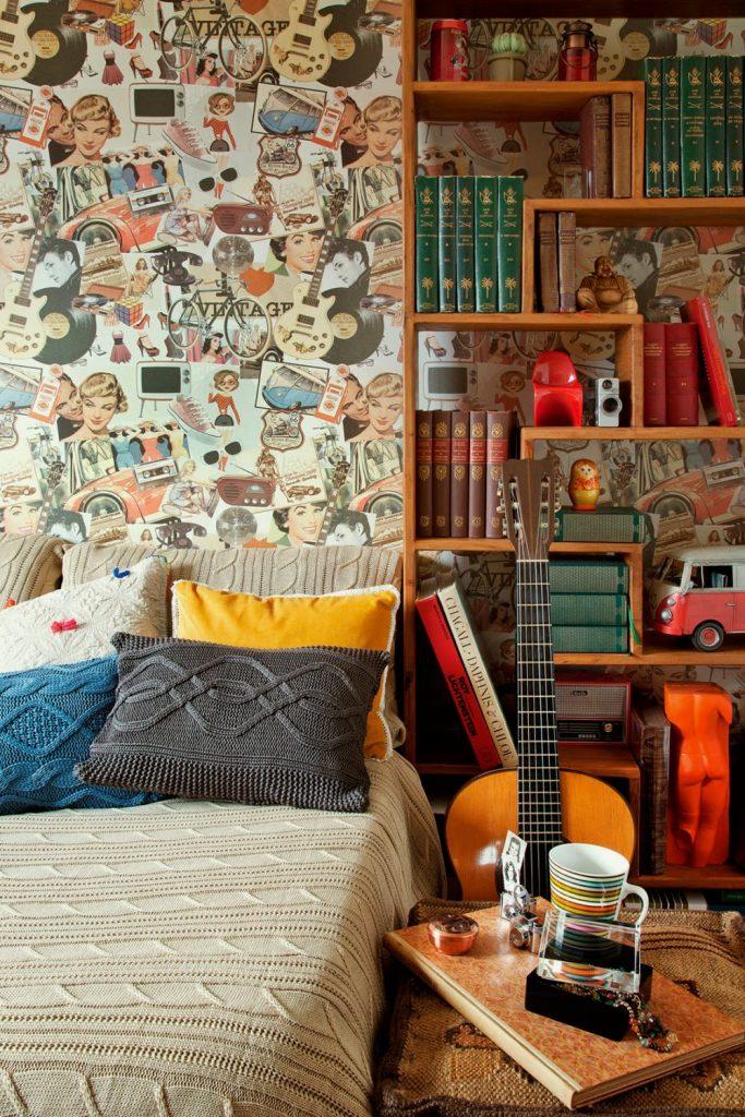 papel de parede vintage quarto infantil e teen