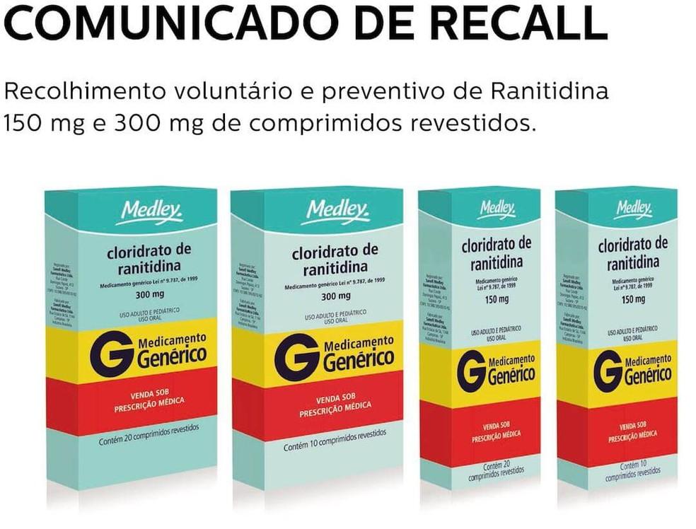 Comunicado recall de remédios a base de cloridrato de ranitidina por conta de uma possível contaminação de substância cancerígena.