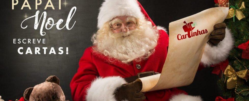 Carta do Papai Noel com neve, selos e carimbos do Polo Norte